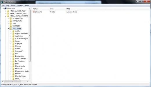Folder HKEY_LOCAL_MACHINE di Registry.