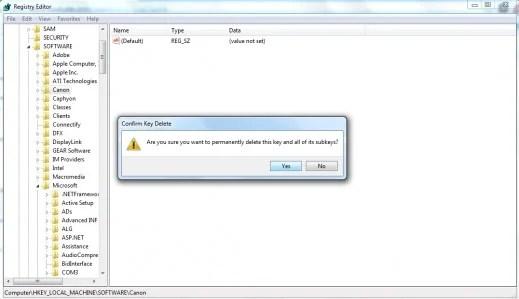 Menghapus item dari Windows Registry.